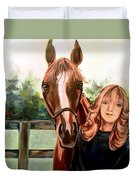 Wide Eyed Girl And Her Horse Duvet Cover