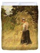 A Girl Harvesting Hay Duvet Cover