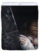 A Girl Who Loves Horses Duvet Cover