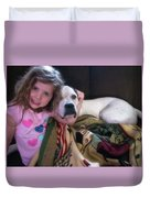 A Girlie-girl And Her Dog Duvet Cover