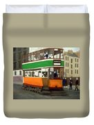 A Glasgow Tram With Figures And Tenement Duvet Cover