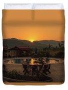 A Golden Sunset In Loas Duvet Cover