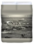 A Good Day Fishing On Monterey Bay In Black And White Duvet Cover