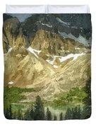 A Gray Sky Over The Canadian Rockies Duvet Cover