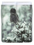 A Great Gray Owl Strix Nebulosa Perches Duvet Cover