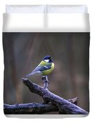 A Great Tit In The Rain Duvet Cover