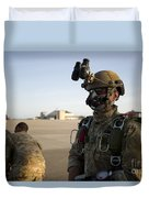 A Green Beret Waits To Have His Gear Duvet Cover