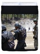 A Green Beret Walks With Tigres Duvet Cover