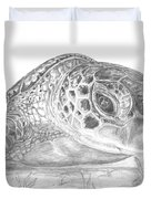 A Green Sea Turtle Grayscale Duvet Cover