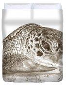 A Green Sea Turtle In Earthtones Duvet Cover
