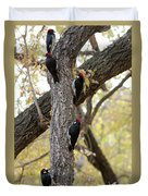 A Group Of Acorn Woodpeckers In A Tree Duvet Cover