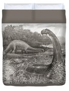 A Group Of Brontosaurs, Or Thunder Duvet Cover