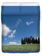 A Group Of Cypress Trees Dot A Tuscan Duvet Cover