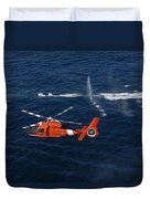 A Helicopter Crew Trains Off The Coast Duvet Cover by Stocktrek Images