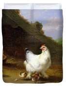 A Hen With Her Chicks Duvet Cover