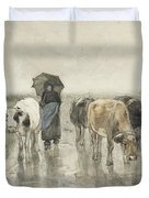 A Herdess With Cows On A Country Road In The Rain Duvet Cover