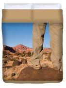 A Hiker Admires The Sunrise Light Duvet Cover