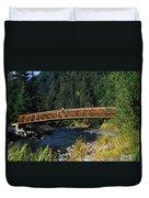 A Hiker Crosses A Bridge Duvet Cover