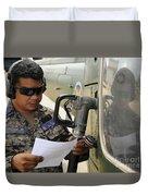 A Honduran Crew Chief Consults Duvet Cover