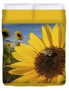 A Honey Bee Visiting A Sunflower Duvet Cover