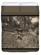 A Horse In The Field Duvet Cover