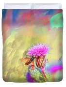 A Hoverfly On Abstract #h3 Duvet Cover