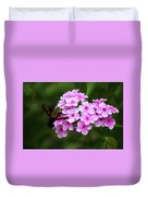 A Hummingbird Moth With Phlox Flowers Duvet Cover