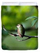 A Hummingbird Rests Duvet Cover