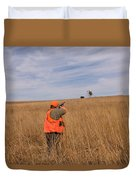 A Hunter Shoots A Ring Necked Pheasant Duvet Cover