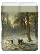 A January Evening In The Woods Duvet Cover