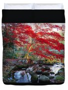 A Japanese Maple With Colorful, Red Duvet Cover