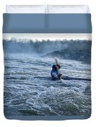 A Kayaker Takes On White Water Rapids Duvet Cover