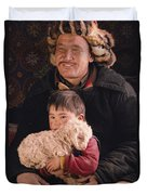A Kazakh Eagle Hunter And His Son Duvet Cover