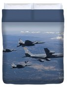 A Kc-135r Stratotanker Refuels Three Duvet Cover by HIGH-G Productions