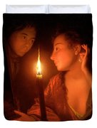 A Lady Admiring An Earring By Candlelight Duvet Cover by Godfried Schalcken
