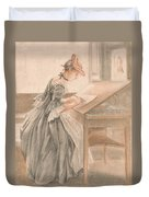 A Lady Copying At A Drawing Table Duvet Cover