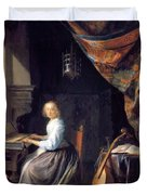 A Lady Playing The Clavichord Duvet Cover