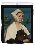 A Lady With A Squirrel And A Starling Anne Lovell Duvet Cover