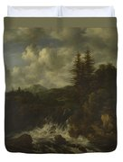 A Landscape With A Waterfall And A Castle On A Hill Duvet Cover