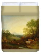 A Landscape With Cattle And Figures By A Stream And A Distant Bridge Duvet Cover by Thomas Gainsborough