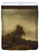 A Landscape With Peasants And A Cart Duvet Cover
