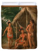 A Leeward Islands Carib Family Outside A Hut Duvet Cover