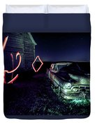 A Light Painted Scene Of A Rusty Caddy By A Barn And Cornfield Duvet Cover