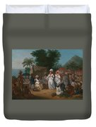 A Linen Market With A Linen-stall And Vegetable Seller In The West Indies Duvet Cover