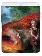 A Little Girl And Her Dragon Duvet Cover