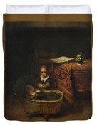 A Little Girl Rocking A Cradle Duvet Cover