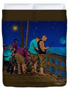 A Little Night Fishing At The Rodanthe Pier 2 Duvet Cover by Anne Kitzman
