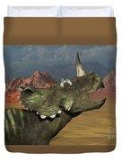 A Lone Centrosaurus Dinosaur Calling Duvet Cover