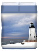 A Lonely Seagull Was Flying Over The Pemaquid Point Lighthouse Duvet Cover