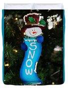 A Long Snow Ornament- Vertical Duvet Cover